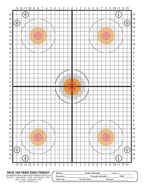 graphic regarding 100 Yard Zero Target Printable named ARMA DYNAMICS - Scoped Rifle Aims
